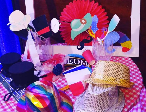 table with props and accessories for photobooth